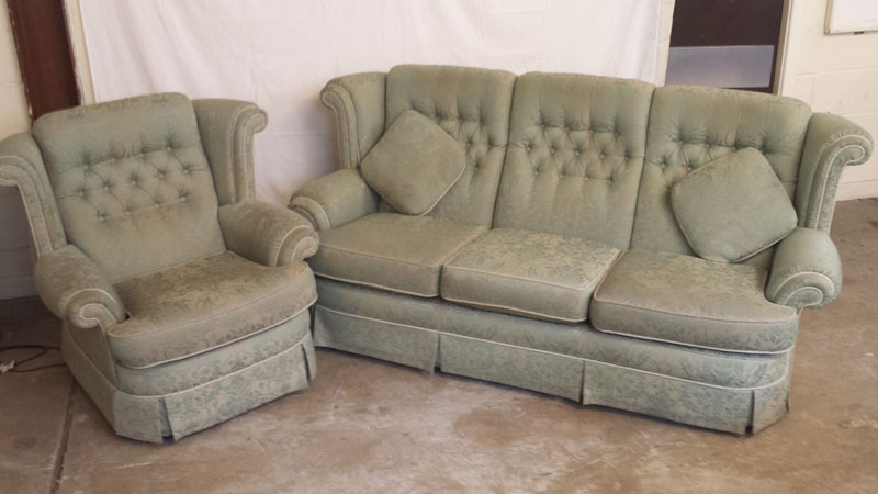 Green Leaf Design 3-Seater Sofa with Matching Armchair | Inside & Out