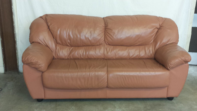 Salmon Leather 3 Seat Sofa Inside Amp Out