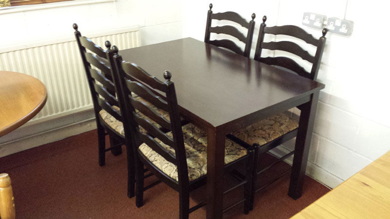 Dark ladderback chairs set of 4 bought without dining for Dining table without chairs