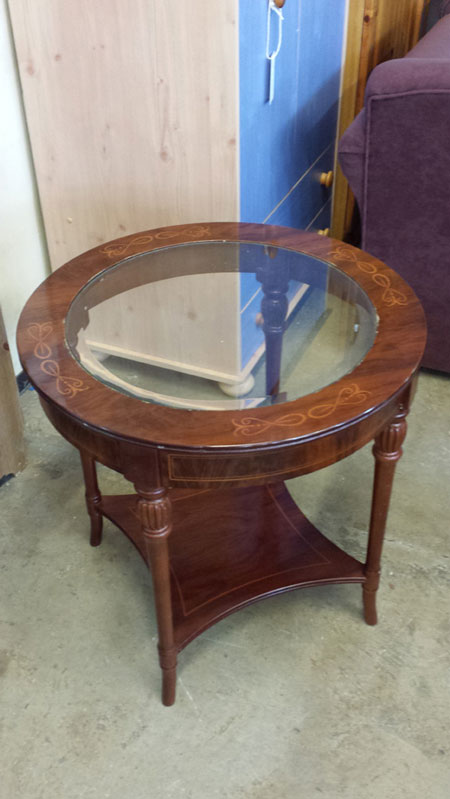 Cherry Wood Round Glass Topped Coffee Table Inside Out