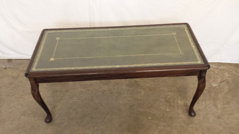 Coffee Table With Green Leather Top With Glass Cover Inside Out