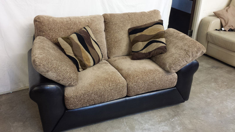 Black Leather and Chenille 2-Seater Sofa | Inside & Out