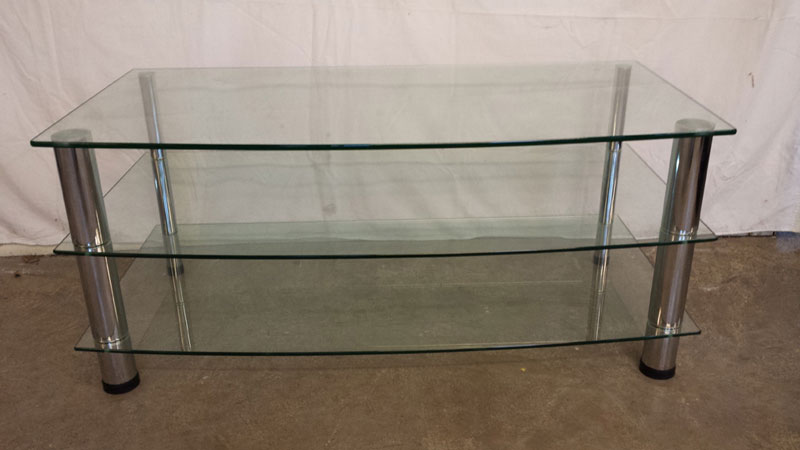 Glass Tv Stand With Chrome Legs Inside Out